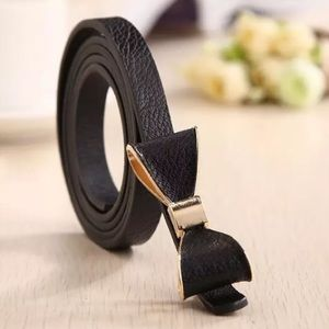 Black Bow PU Leather Belt